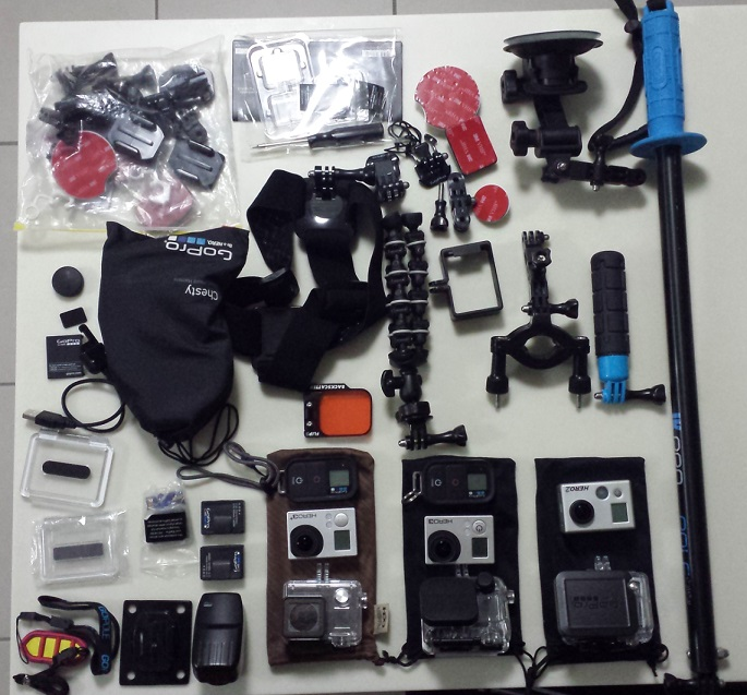 range of Gopro cameras and accessories