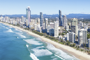 Aerial shot of Gold Coast Skyline and beaches