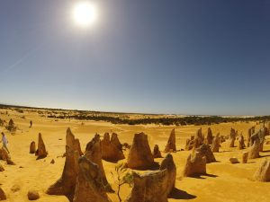 Sun ruising over the Pinnacles near Perth WA
