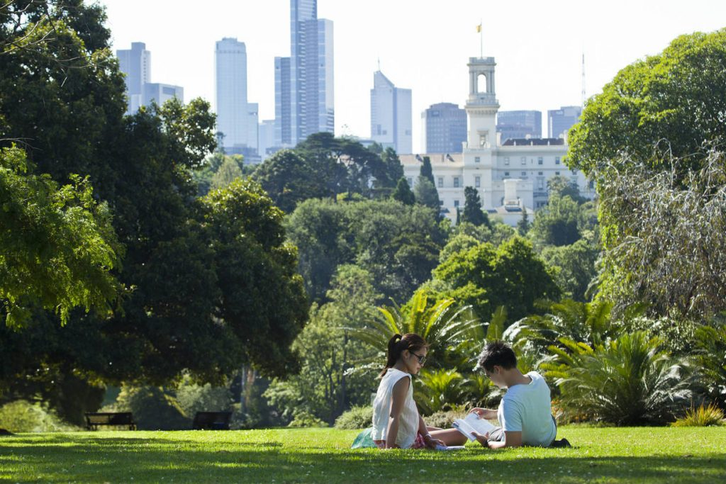 Couple relaxing in melbourne royal Botanic gardens