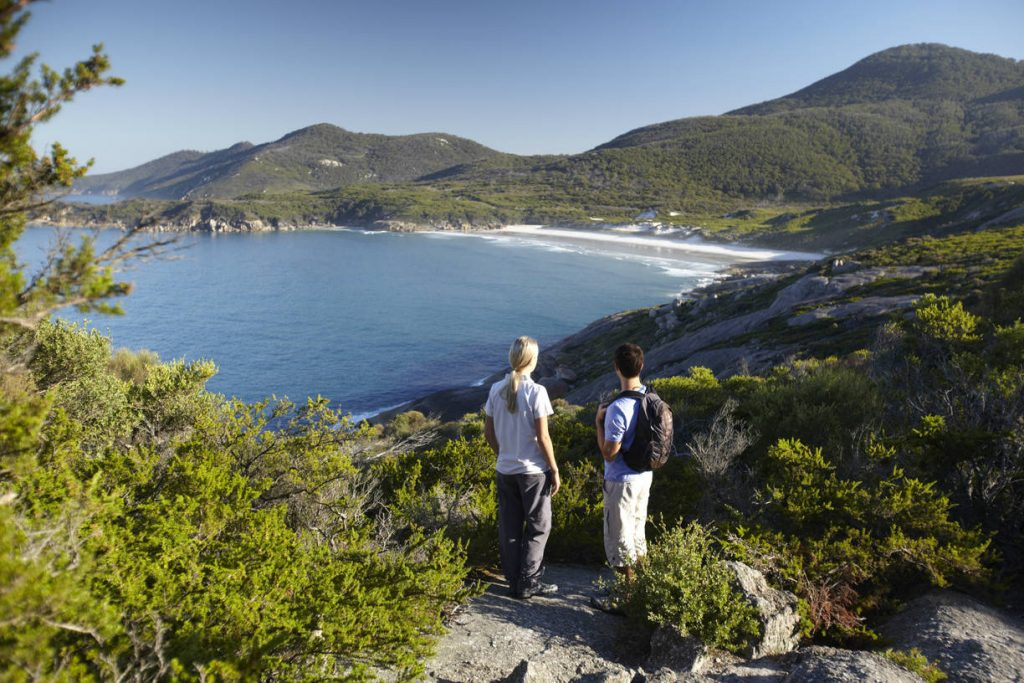 Couple on a lookout at Pillar point Wilsons promontory