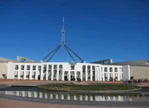 View outside of Parliament House include the water feature