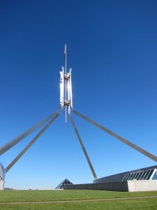 View looking skywards of the flag on Parliament House