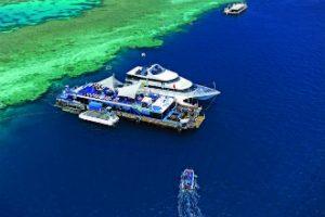 Pontoon on Great Barrier reef Whitsundays