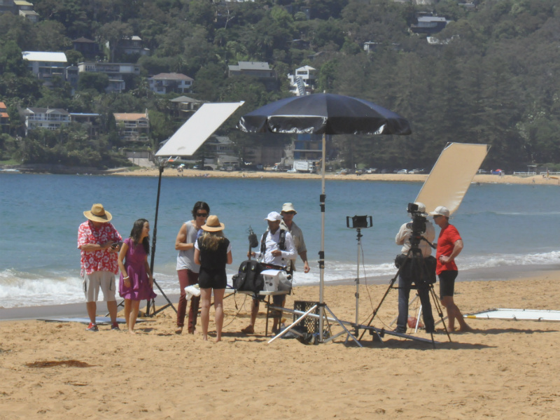 Outdoor beach filming for Home and Away's Summer Bay