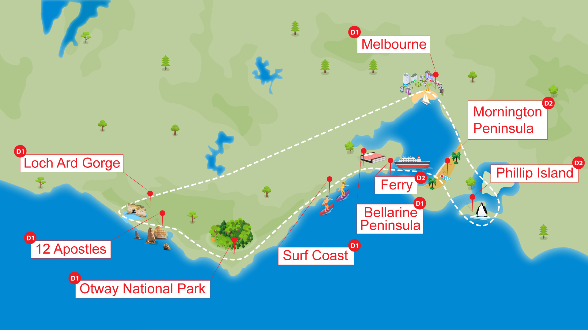 Great Ocean Road Tour one day including cafe and lunch Map by ToursToGo Pty
