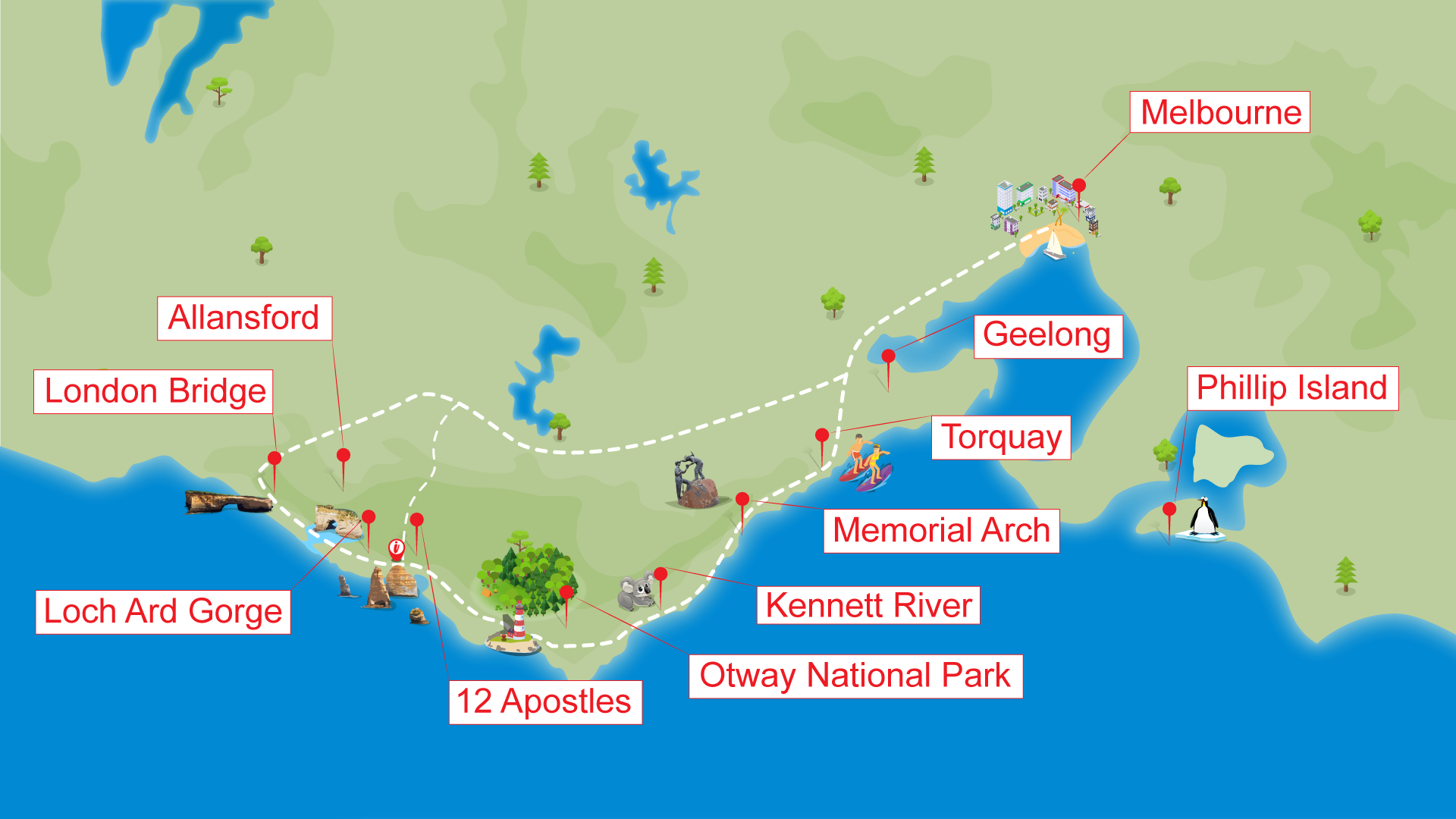 Great Ocean Road Tour Map by ToursToGo Pty