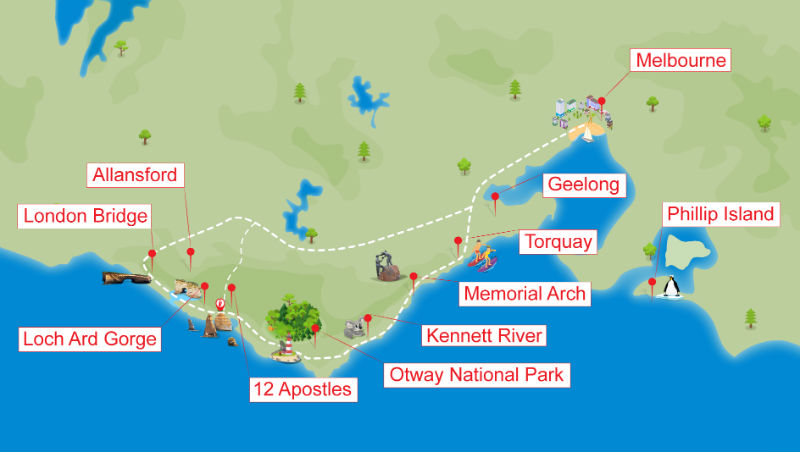 Map of key locations along the Great Ocean Road in Victoria