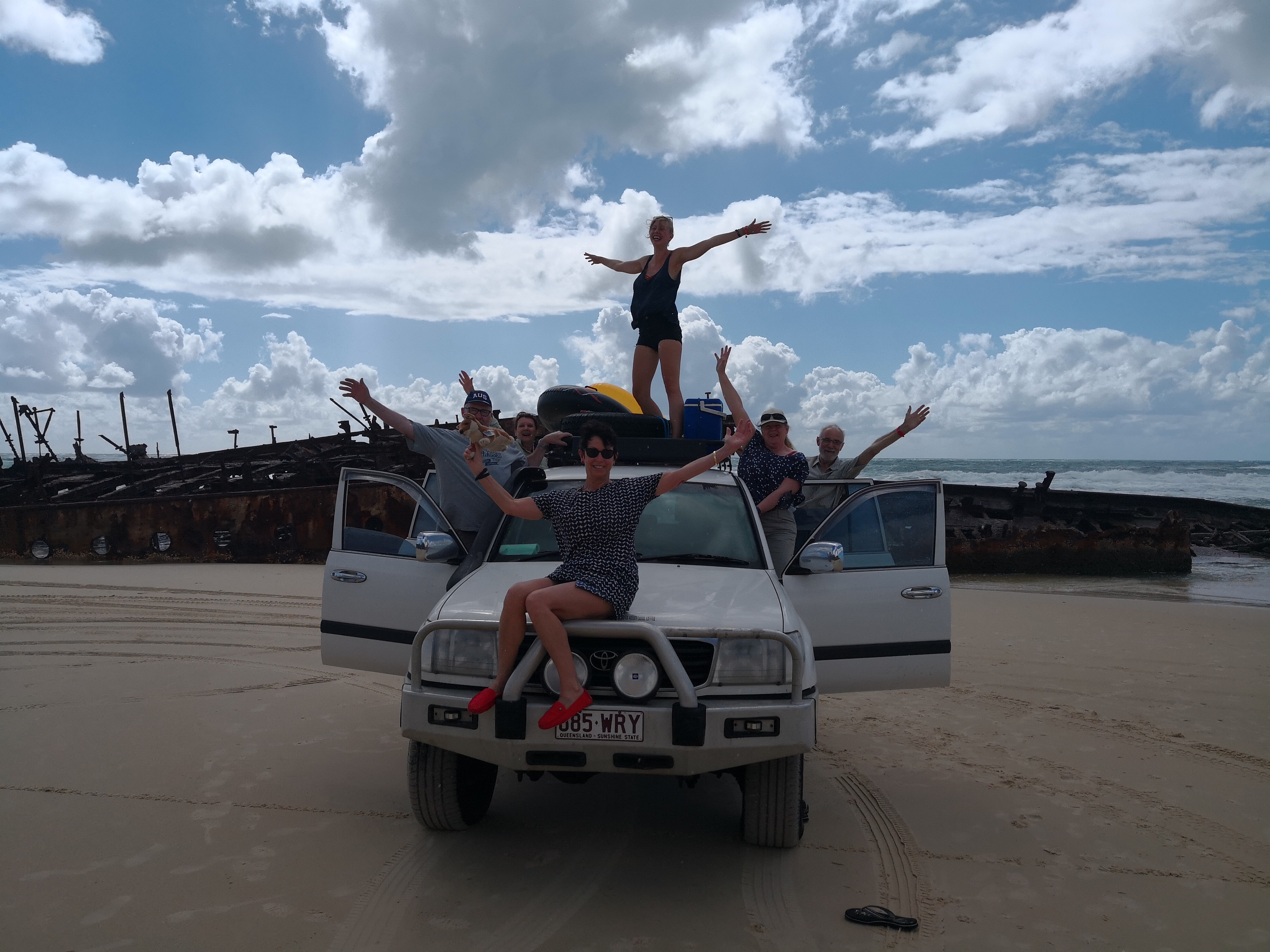 Our group all standing on the 4WD in front of the Maheno Shipwreck for a fun group photo