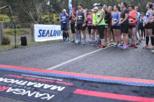 Runners lining up for the start of the Kangaroo Island Marathon