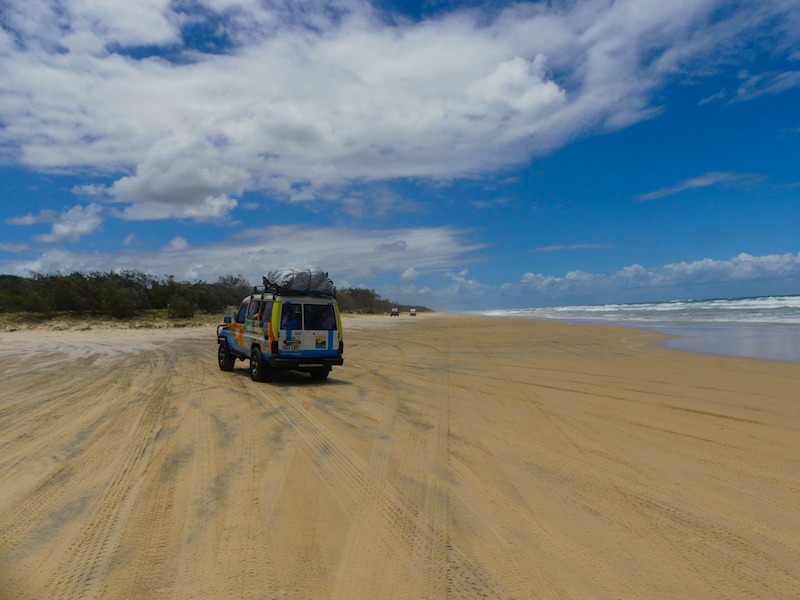 Showing other 4WDs using the beach as the highway on Fraser Island