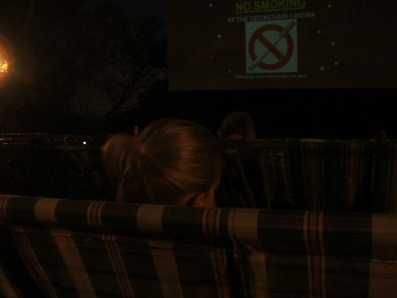 The start of a screening at Darwin's deckchair cinema