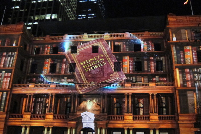 Customs House Sydney with light projections for Vivid