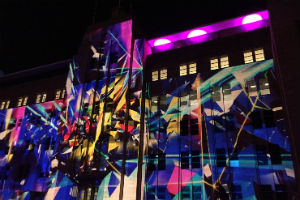 Illuminated building at Sydney's Vivid Festival